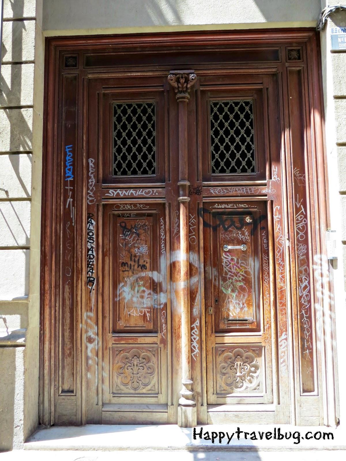 Wooden door in Barcelona, Spain