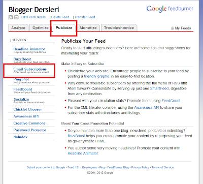FeedBurner RSS Email Aktifleştirme