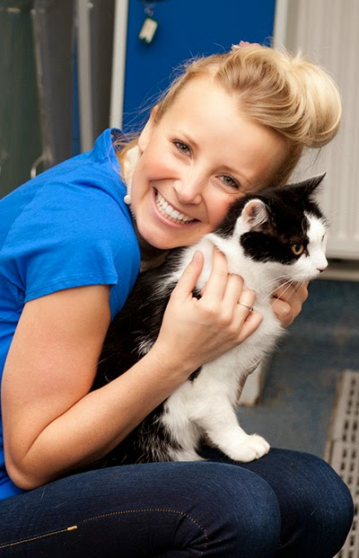 Carley Stenson volunteering at Cats Protection