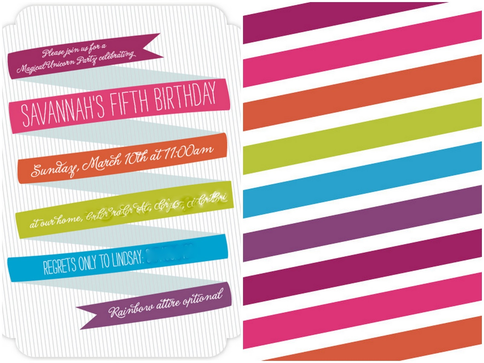 rainbow invitations templates free