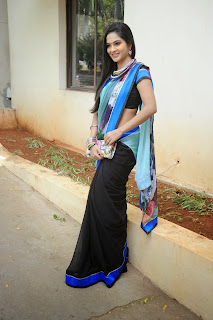 Madhumita in lovely Black saree Blue Pallu Black Blouse Stunning New Pics
