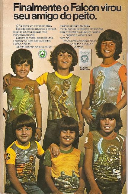 Propaganda da Hering para apresentar a série de camisetas para crianças com estampas do personagem Falcon.