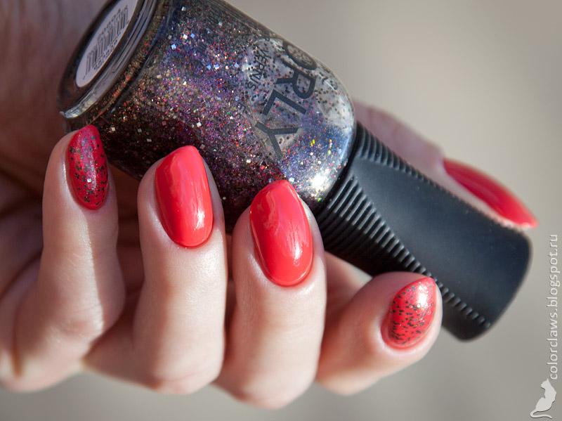 Orly Precisely Poppy + Digital Glitter