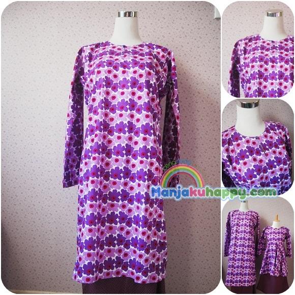 Baju Kurung Pahang Ibu Sedondon dengan anak Dark Purple Orchid BKibu11