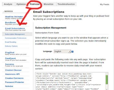feedburner email subscription box