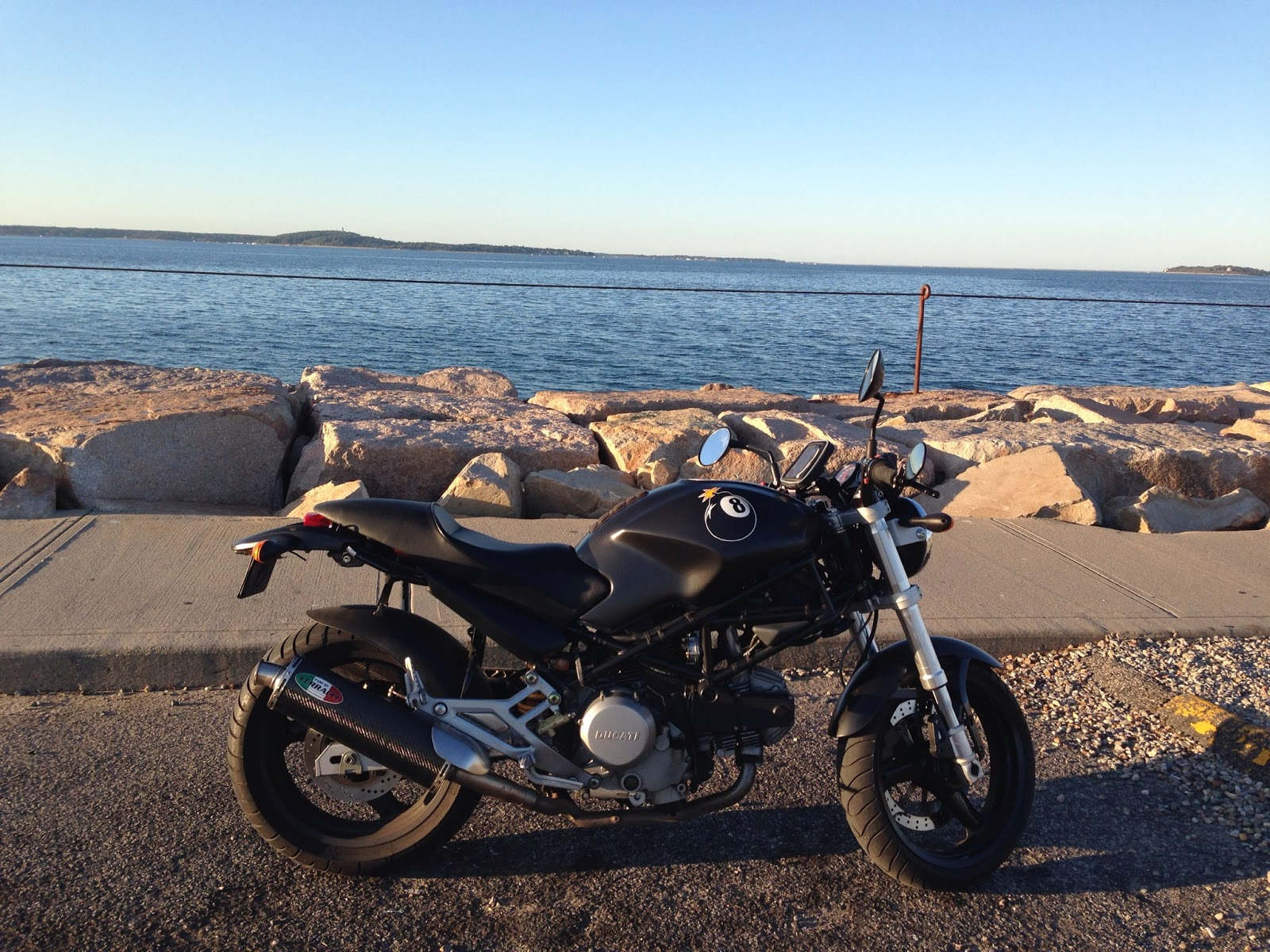 Boston Bay: NYDucati Lands on Plymouth Rock, Plymouth Massachusetts on a Tigho Ducati Trip.