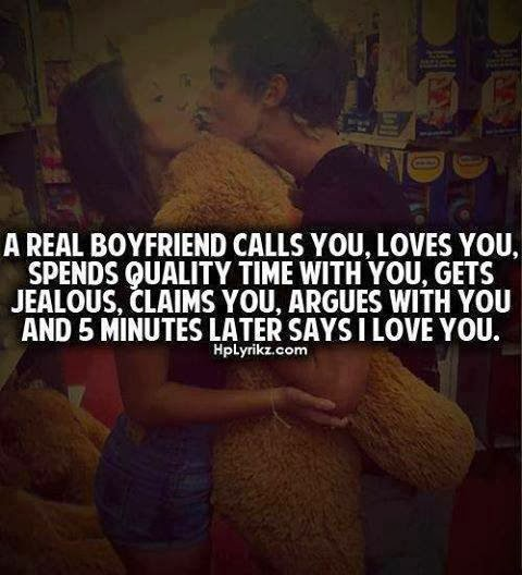 a real boyfriend calls you loves you spends quality time