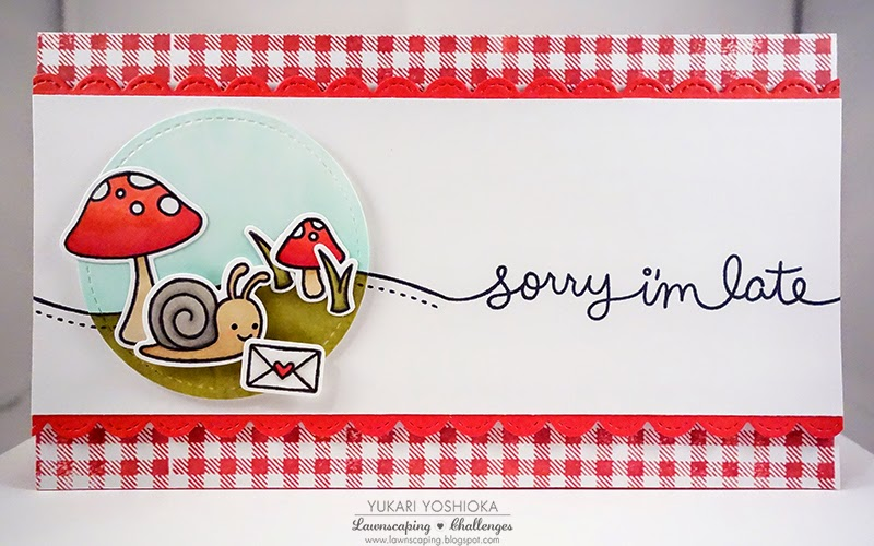 "Lawnscaping February 2015 Blog Hop | ""Sorry I'm Late"" Card by Handmade by Yuki 
