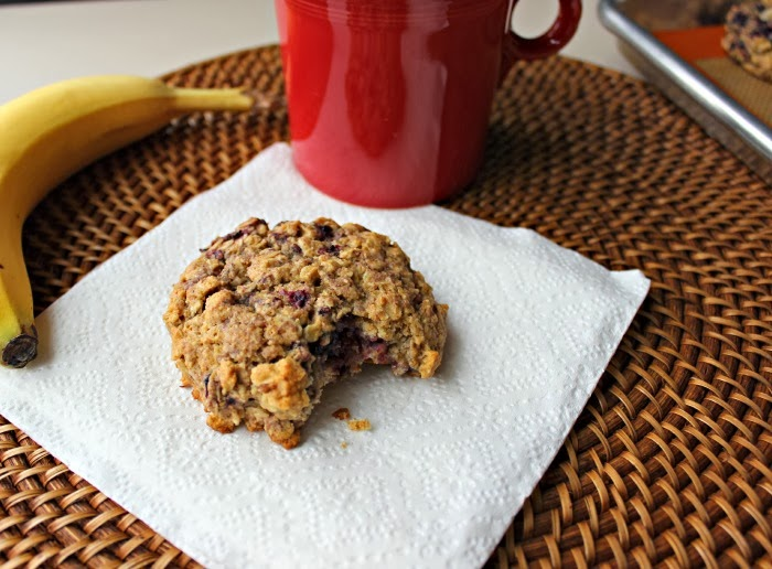 "Renee's Kitchen Adventures: Blackberry Oatmeal Breakfast Cookies.  Hearty ""cookies"" perfect for an on-the-go breakfast.  #cookies #breakfast"