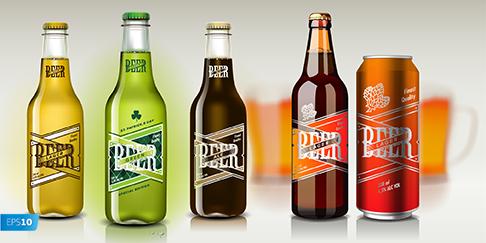 lata y botellas de cerveza realista vector