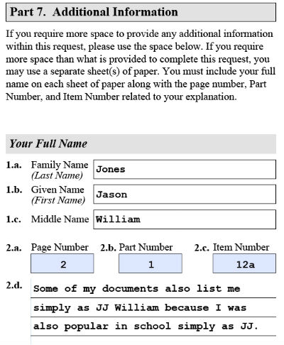 Sample filled part 7 of USCIS form i821