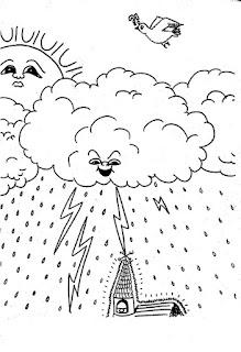 Desenho de nuvem-chuva e sol para colorir
