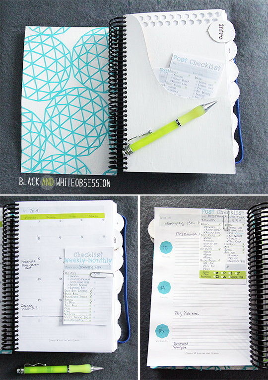 Black and White Obsession | Free Half Size Blogger Planner/ Filofax A5 | Bonus Post Checklist and Monthly Checklist