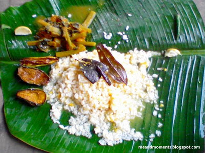 banana leaf, meal on banana leaf