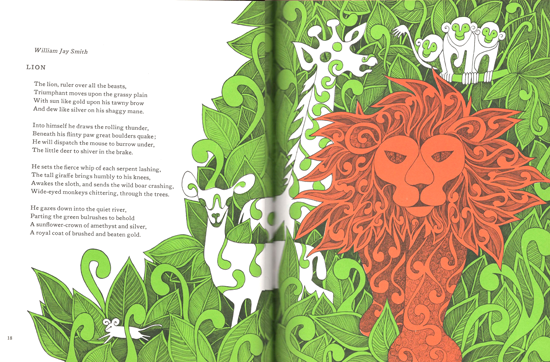 Mod and Mint: Vintage 1960s Childrens book Lion illustration - A Paper Zoo