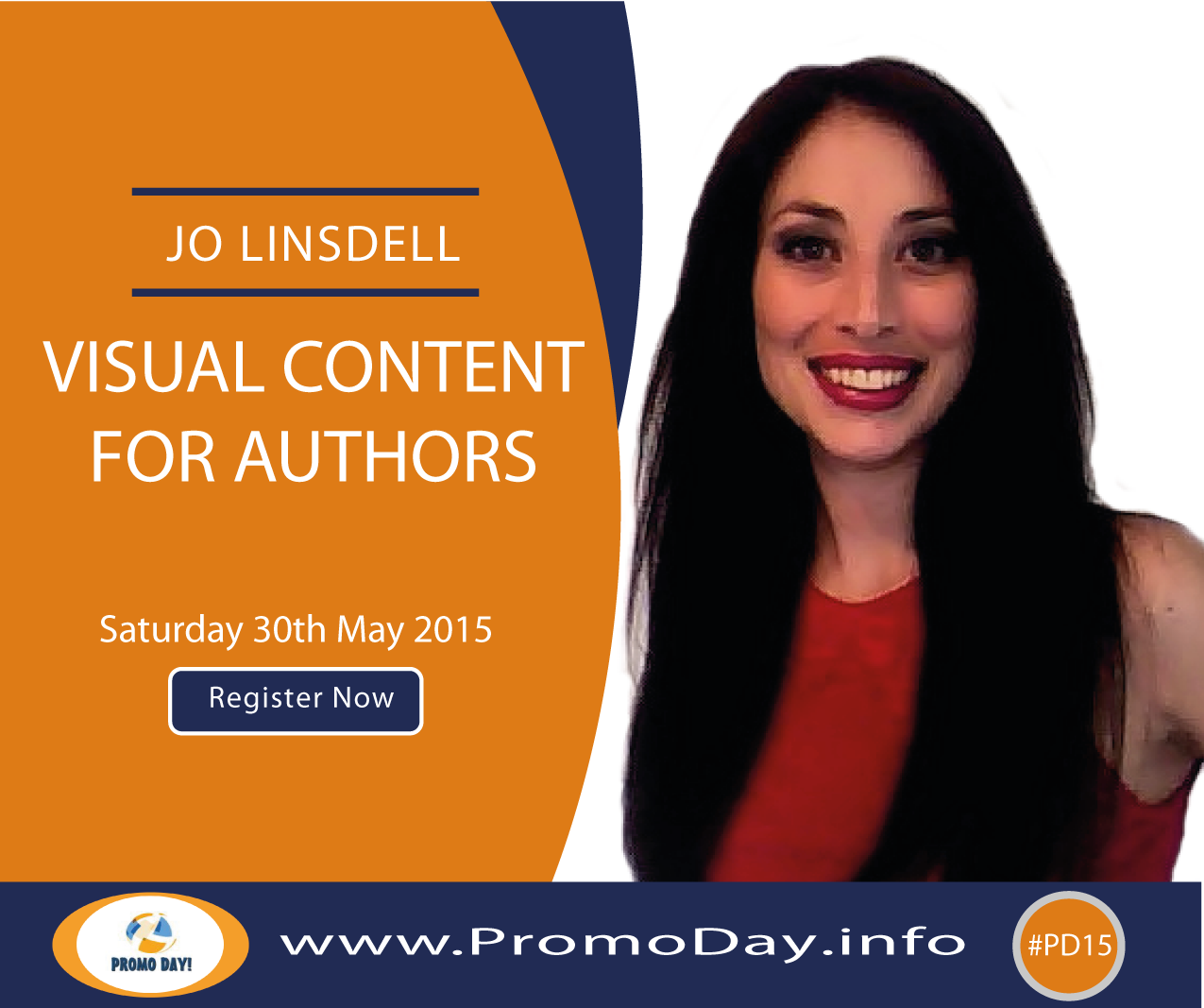 "Join me at #PD15 for webinar ""Visual Content for Authors"""
