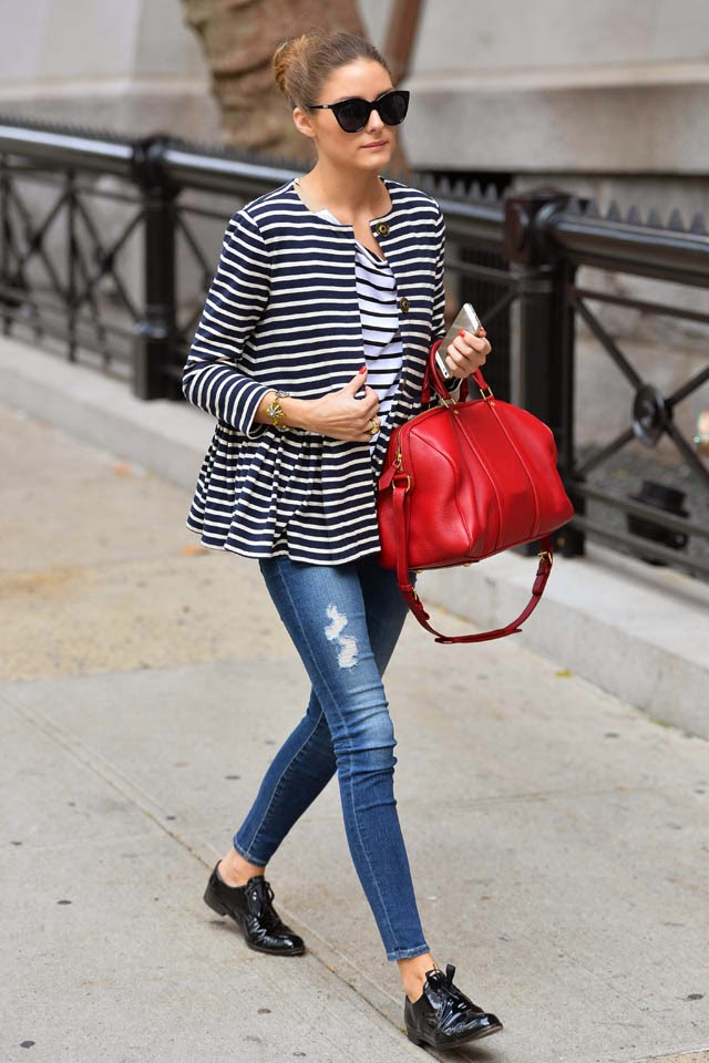 trend alert - red bags, olivia palermo wearing jeans and a red bag