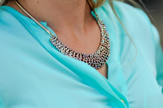 Forever 21 Mint Blouse and Rhinestoned Crescent Bib Necklace