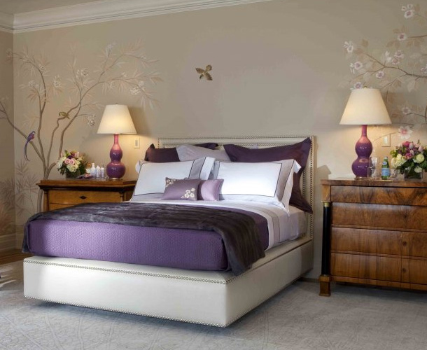 Purple bedroom decor ideas with grey wall and white accent for Bedroom designs purple