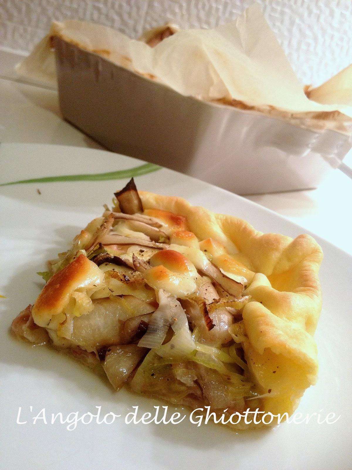 everyday cooking. torta salata sciuè sciuè con radicchio tardivo, porro, pancetta piacentina e scamorza affumicata