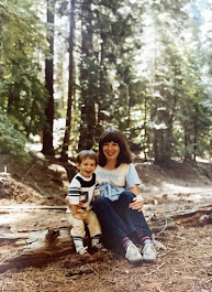 A young Piper and a young Josh on a hike in the Redwoods