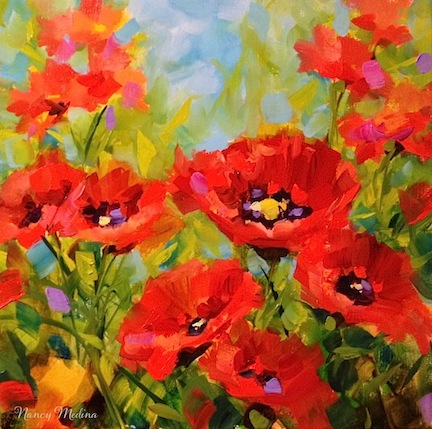Surrounded - Red Poppy Painting by Texas Flower Artist Nancy MedinaPoppy Flowers Painting