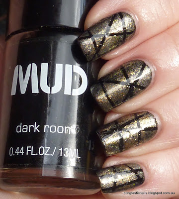 OPI Goldeneye, OPI Bond, James Bond, China Glaze Cosmic Dust and Savvy Starburst striping manicure
