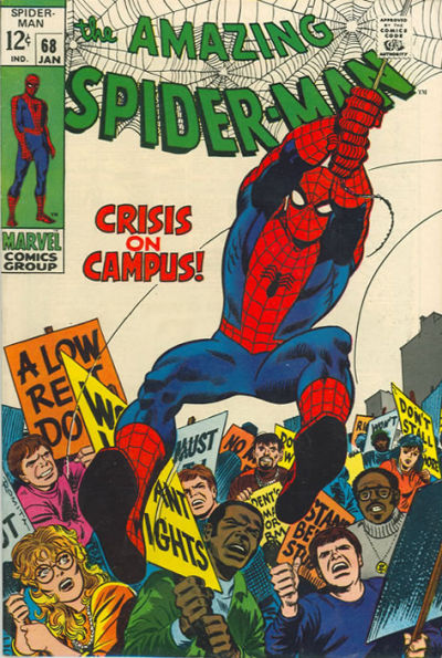 Amazing Spider-Man #68, student protest, All-time Top Ten John Romita Spider-Man Covers