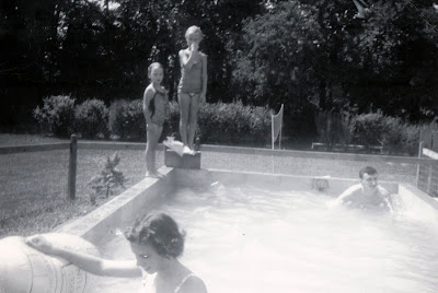 Marilyn, Linda, Nancy and Bill Niehaus enjoy our pool in the backyard, 3314 South New Jersey St., Indianapolis, Indiana