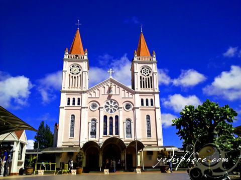 Full view of the Baguio Cathedral front towers against blue sky