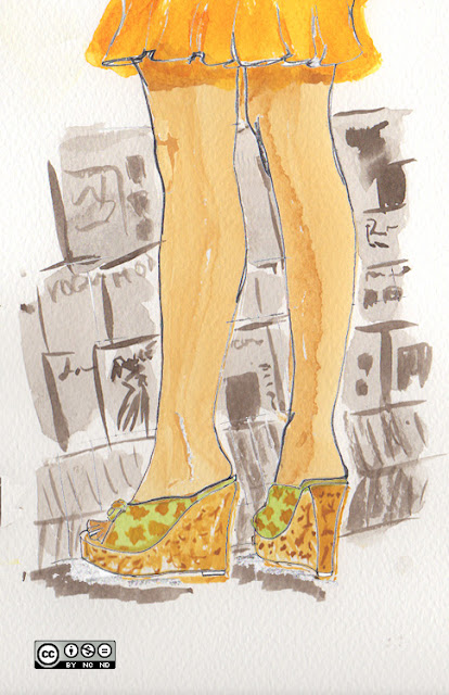 Cork platform wedge shoes. Watercolor fashion illustration. Creative Commons license for sharing.