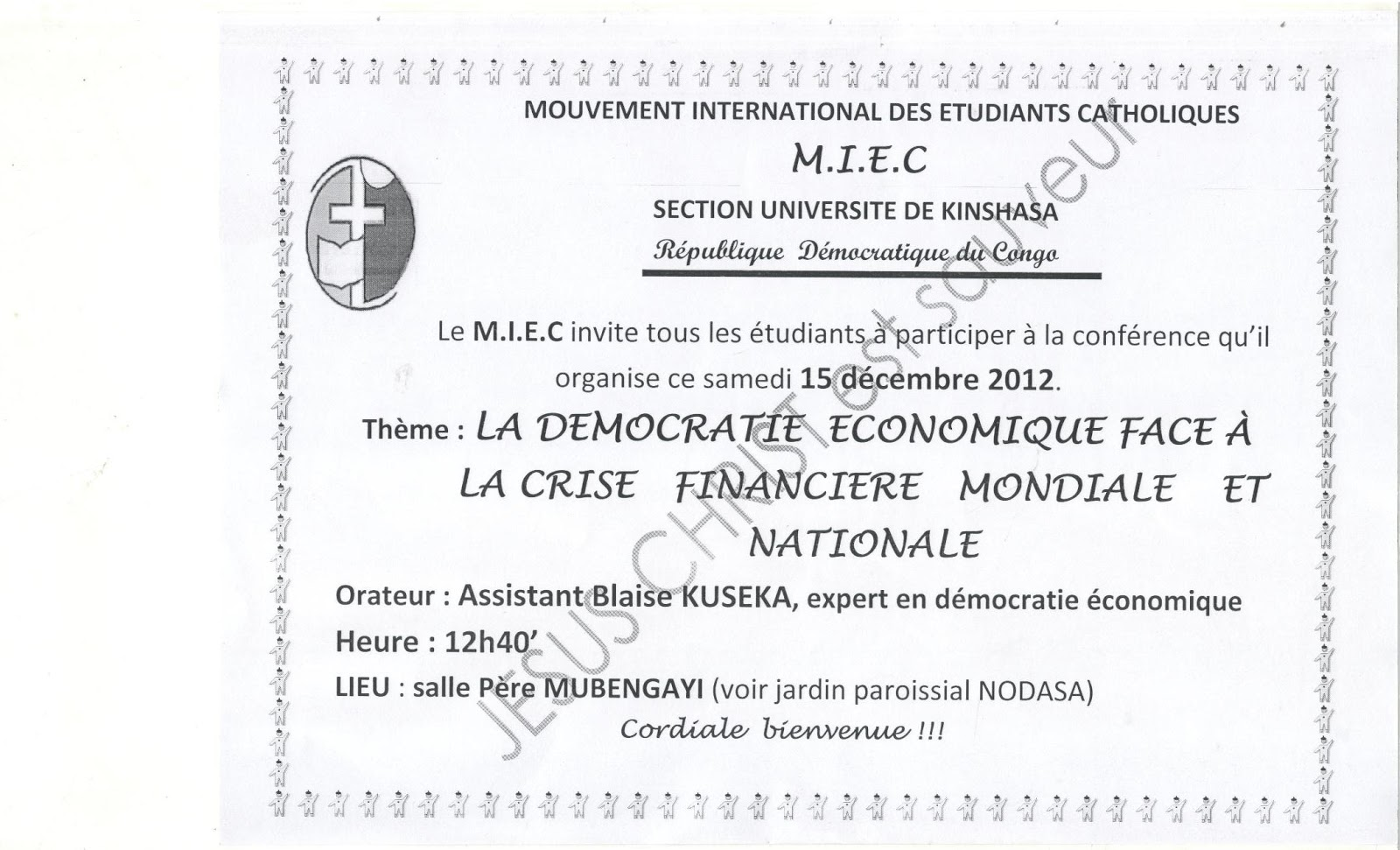 Invitation, Kinshasa, 15.12.2012, 12h40