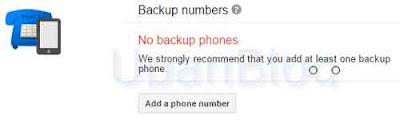 nomor telepon cadangan untuk verifikasi 2 langkah