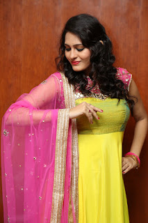 Swetha Jadhav in Spicy Gorgeous Yello Anarkali Dress with Pink Net Chunni Spicy Pics