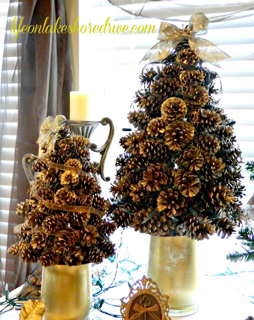 "alt=""pine cone trees painted gold"""