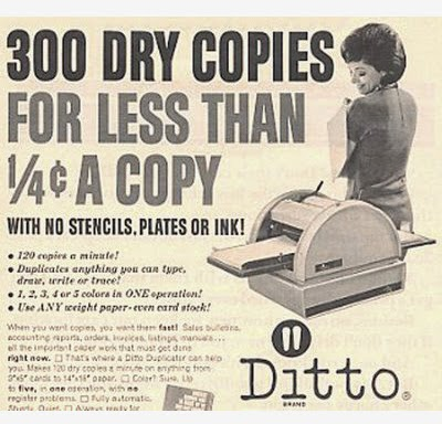 "vintage advertisement for a ""Ditto"" machine"