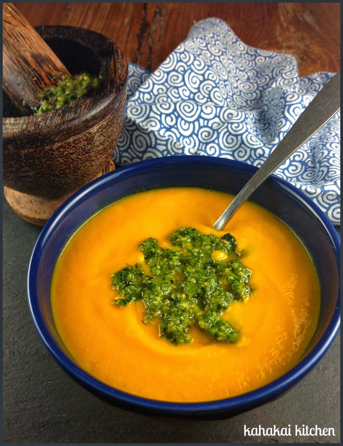 Kahakai Kitchen: Creamy Carrot Soup with Fennel Pesto for Souper (Soup ...
