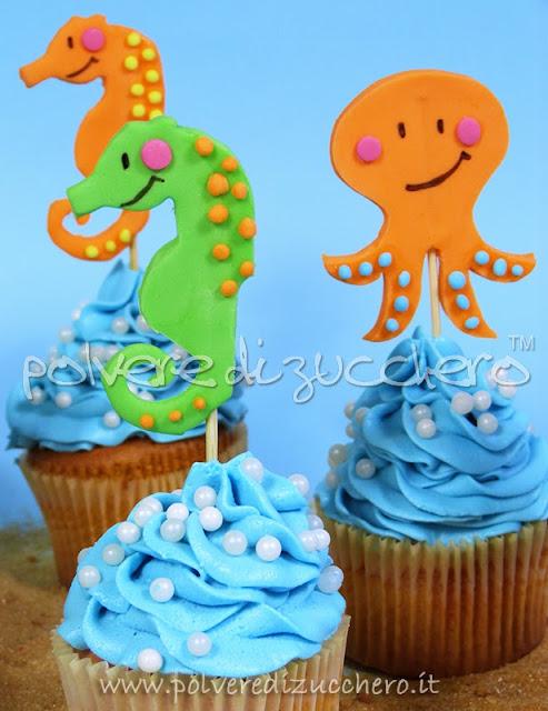 tutorial cupcakes dell'estate con soggetti marini: medusa, pesce, cavalluccio marino, polipo
