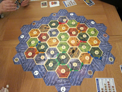 Settlers of Catan - The game board with the 5/6 player extension