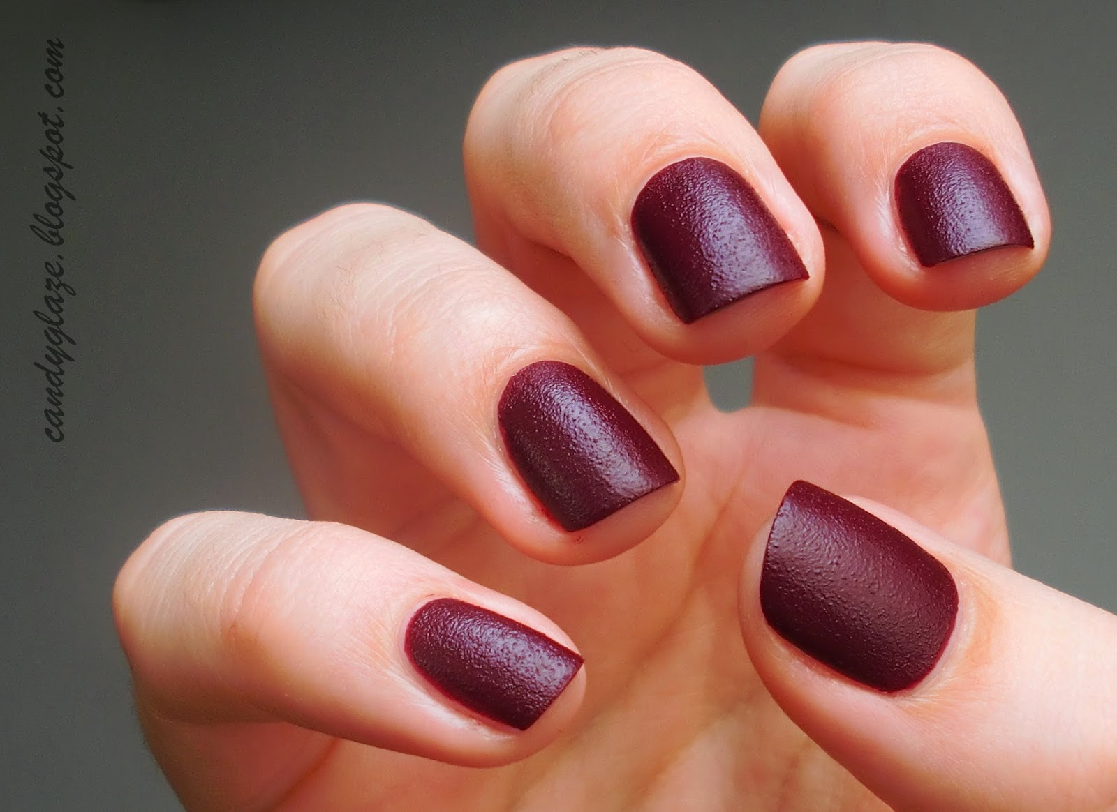Matte Burgundy Acrylic Nails images