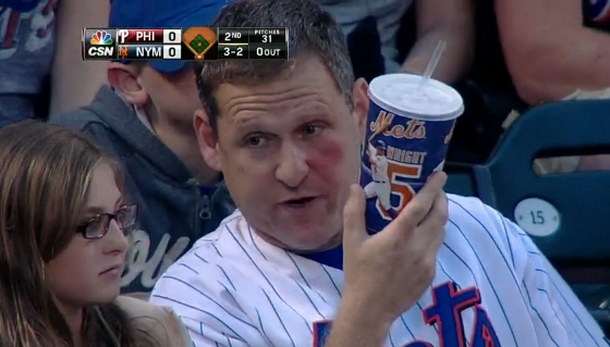 Mets fan hit in face with foul ball
