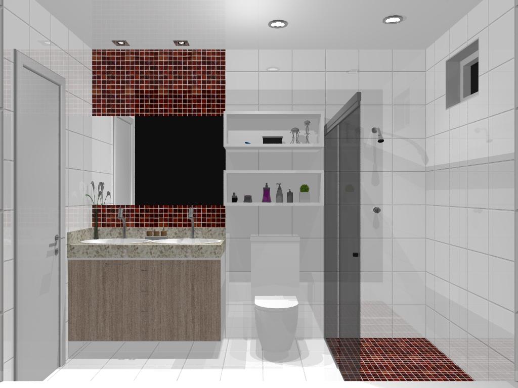 Armário Planejado para Banheiro Pequeno  Bella Kaza  Móveis Planejados em F -> Movel Banheiro Planejado