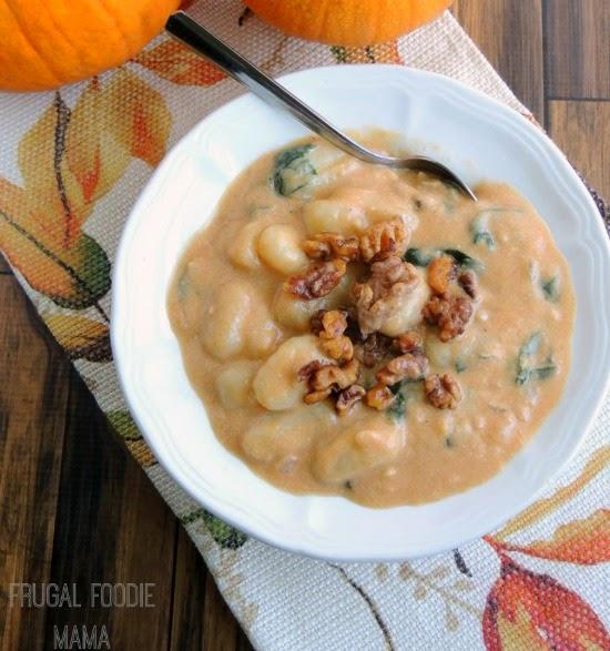 Creamy Pumpkin Gnocchi Soup with Spiced Walnuts | Frugal Foodie Mama