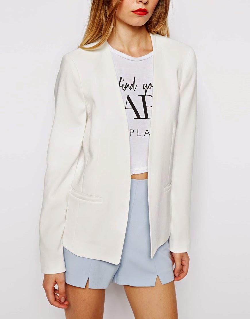 white collarless blazer