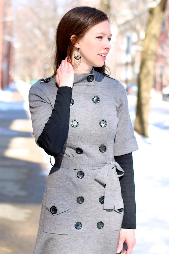 Sweater Coat Dress Black Buttons | StyleSidebar