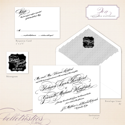 black white diagonal script printable wedding invitation design