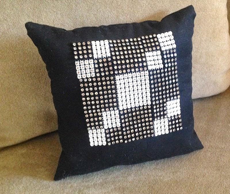 rhinestone quilt block mini pillow lisa fulmer