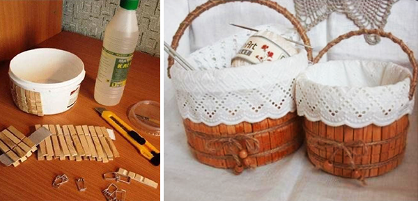 Φτιάξε αποθηκευτικό καλάθι απο ένα πλαστικό δοχείο και ξύλινα μανταλάκια!