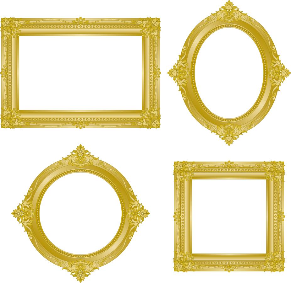 アンティークな金のフレーム antique gold frame イラスト素材