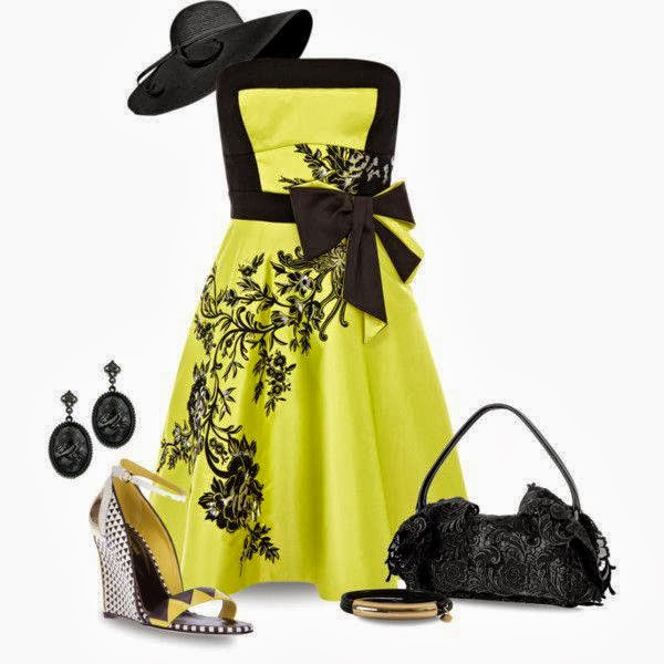 Yellow Dess, Hat, Earrings, Bag.....